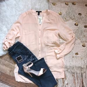 NWT Forever 21 Pink Button Down Tunic